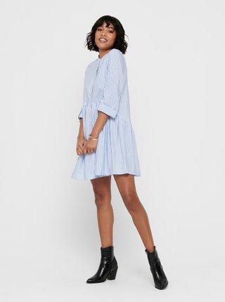 Bílo-modré pruhované košilové šaty ONLY Ditte