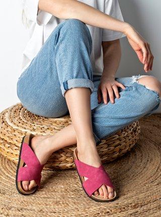 Růžové dámské semišové pantofle MUSK