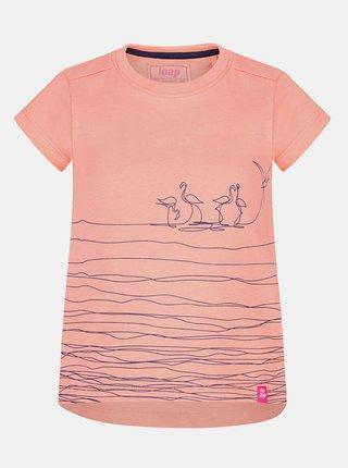 Oranžové holčičí tričko s potiskem LOAP