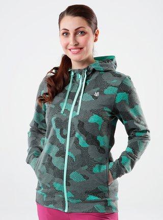 Zeleno-šedá dámská vzorovaná mikina s kapucí LOAP