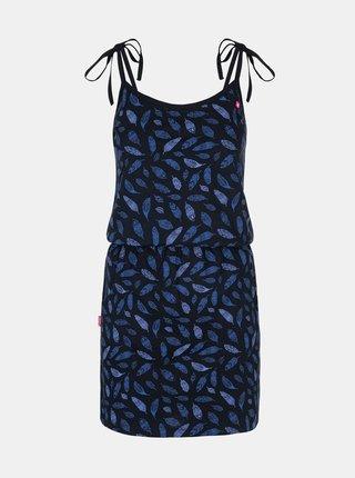 Tmavě modré dámské vzorované šaty na ramínka LOAP