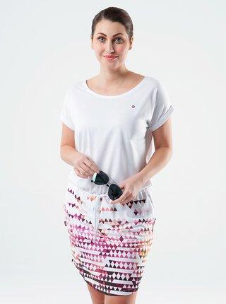 Ružovo-biele dámske vzorované šaty LOAP