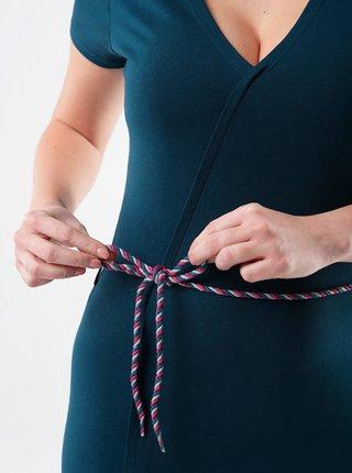 Petrolejové dámske šaty so zaväzovaním LOAP