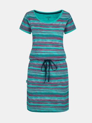 Tyrkysové dámské pruhované šaty se zavazováním LOAP