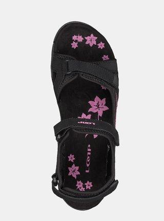 Čierne dámske kvetované sandále LOAP
