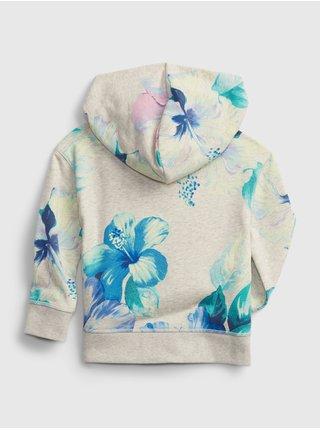 Béžová klučičí dětská mikina GAP Logo floral hoodie