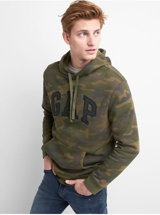 Zelená pánská mikina GAP Logo fleece hoodie