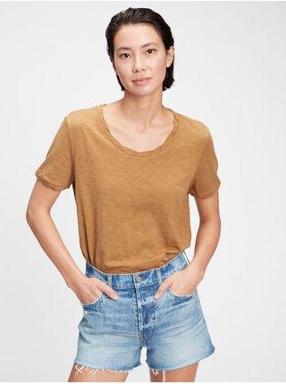 Hnědé dámské tričko the gen good t-shirt
