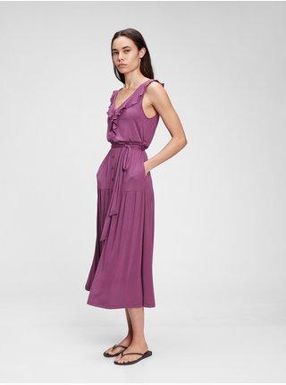 Fialové dámské šaty sleeveless ruffle maxi dress