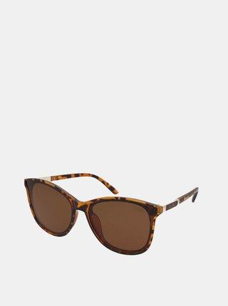 Hnědé dámské vzorované sluneční brýle Crullé