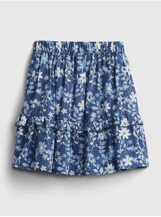 Modrá holčičí dětská sukně floral midi skirt