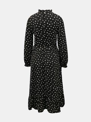 Černé puntíkované midišaty se stojáčkem Dorothy Perkins