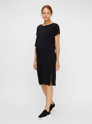 Černé těhotenské/kojicí šaty s rozparky Mama.licious Jill