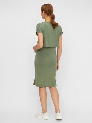 Zelené tehotenské/dojčiace šaty s rozparkami Mama.licious Jill