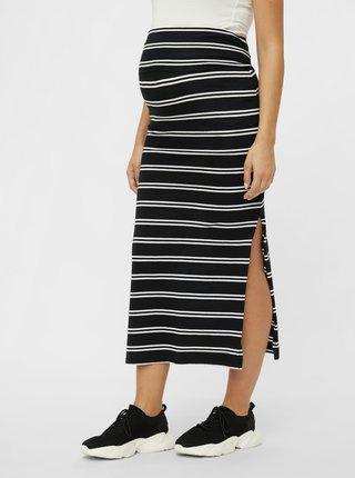 Černá těhotenská pruhovaná maxi sukně Mama.licious Sia