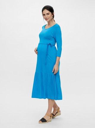 Modré thotenské midišaty so zaväzovaním Mama.licious Simantha