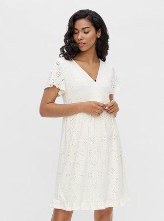 Biele tehotenské/dojčiace šaty s madeirou Mama.licious Denise