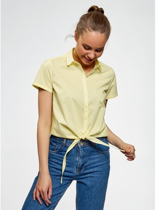 Košile bavlněná s vázačkou OODJI