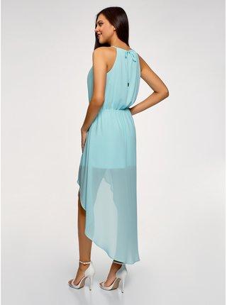 Šaty z tenké látky s asymetrickou délkou OODJI