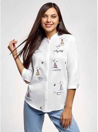 Košile bavlněná s výšivkou OODJI
