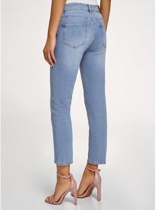 Džínsy skrátené s vysokým pásom OODJI