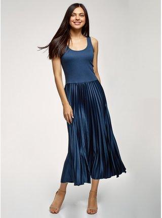 Šaty kombinované s plisovanou sukní OODJI