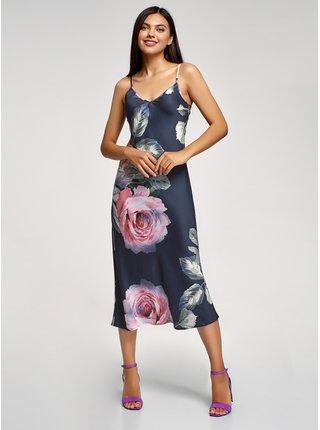 Šaty midi s regulovatelnými ramínky OODJI