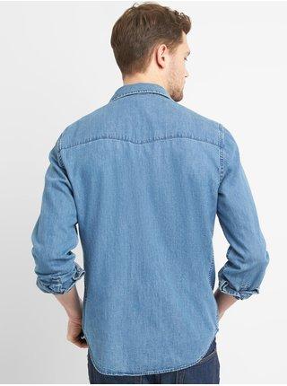 Modrá pánská košile denim western shirt in slim fit