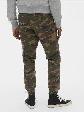 Zelené pánské kalhoty slim caanvas joggers with GapFlex