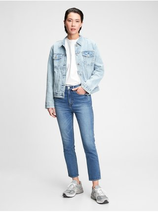 Modré dámské džíny high rise cigarette jeans with secret smoothing pockets with W
