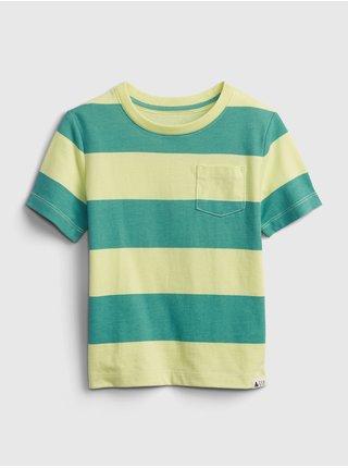 Zelené klučičí dětské tričko 100% organic cotton mix and match stripe t-shirt