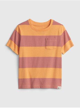 Oranžové klučičí dětské tričko 100% organic cotton mix and match stripe t-shirt