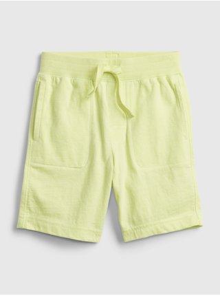 Žluté klučičí dětské kraťasy 100% organic cotton mix and match pull-on shorts