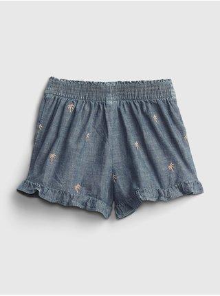 Modré holčičí dětské kraťasy chambray ruffle pull-on shorts