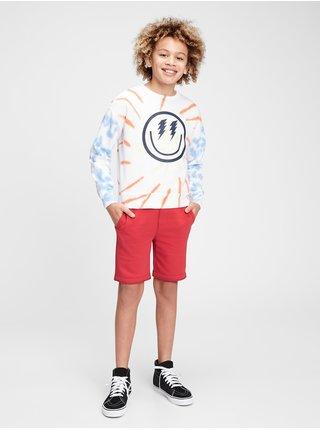 Červené klučičí dětské kraťasy GAP Logo pull-on shorts