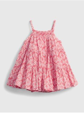 Červené holčičí baby šaty gauze tiered floral dress