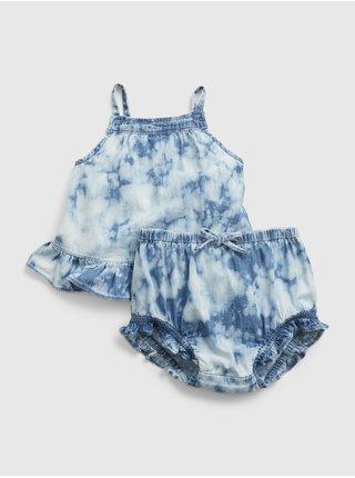 Modrý holčičí baby set tie-dye denim outfit set
