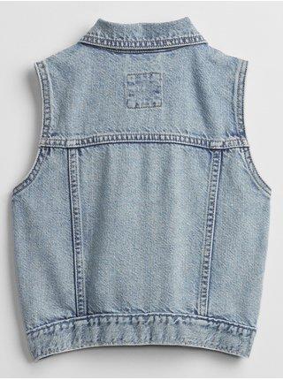Modrá holčičí dětská vesta denim