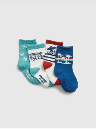 Barevné klučičí dětské ponožky graphic crew socks, 4 páry