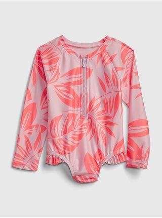 Červené holčičí dětské plavky print swim rash guard one-piece