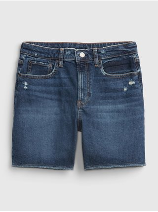 Modré holčičí dětské kraťasy teen denim sky high rise midi shorts with Washwell