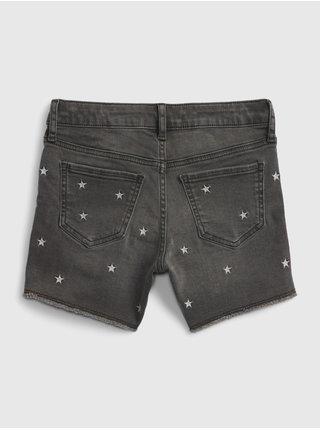 Černé holčičí dětské džínové kraťasy stars embles shorties