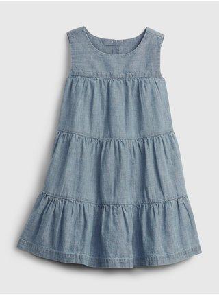 Modré holčičí dětské šaty tiered dress