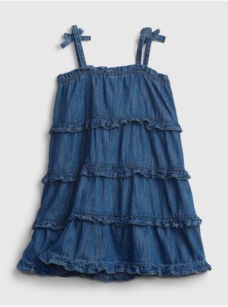 Modré holčičí dětské šaty denim tiered dress
