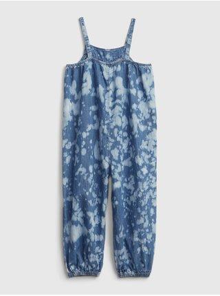 Modrý holčičí dětský overal tie-dye denim jumpsuit with Washwell