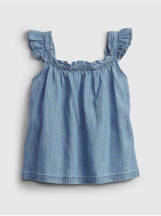 Modrý holčičí dětský top denim ruffle