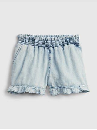 Modré holčičí dětské kraťasy ruffle smock waist shortie