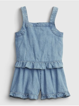 Modré holčičí dětské šaty denim ruffle romper