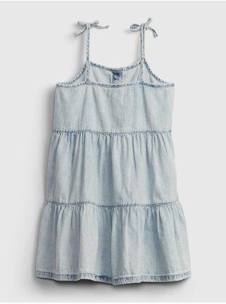 Modré holčičí dětské šaty denim acid tiered dress