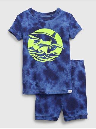 Modré klučičí dětské pyžamo organic cotton glow-in-the-dark shark graphic pj se